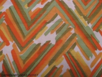 "6 yds/36"" VTG 1950's COTTON TWILL UPHOLSTERY DRAPERY FABRIC LIME CHEVRON NEW NOS"