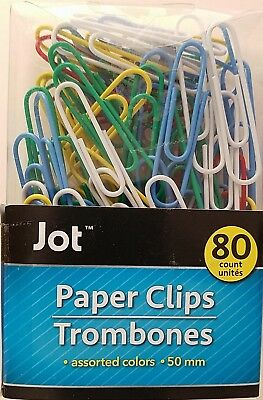 JUMBO PAPER CLIPS MULTI-COLOR Metal Vinyl Coated  2 inch/50mm 80/pack