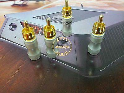 4Pcs Copper Gold Plated RCA Connector Plug Audio 6mm cable HIFI USA