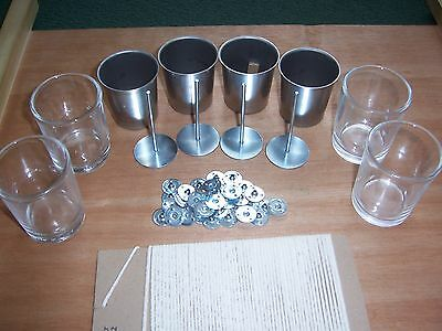 Votive Set - 4 x moulds + 4 Glass Holders + 4 x Wick Pins + wick + Sustainers