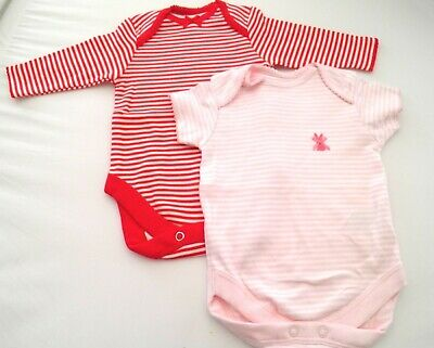 2 Baby Girls Next Bodysuit Cotton Vests Pink & Red Up to 1 Month 4.5kg 10lbs NEW