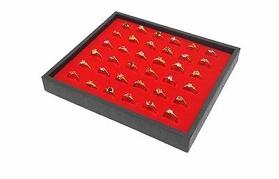 1 Red 36 Ring Display Storage Stackable Tray