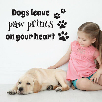 Dogs leave paw prints on your heart wall sticker -  Wall Decal for Pet Lovers