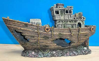 Aquarium Fish Tank Ornament Trawler fishing Boat Wood Wreck Hide New