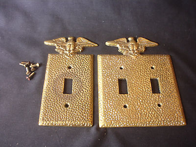 Old Vtg Eagle Brass Decorative Double & Single Light Switch Cover Set W/Screws