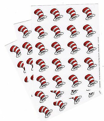 DR SEUSS Cat in the Hat Stickers! Red & White Hat 3 Sheets!