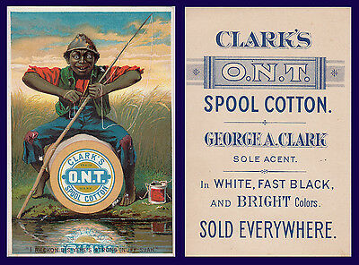 US AFRICAN AMERICAN FISHING POLE ADVERTISING CLARKS O.N.T. SPOOL COTTON THREAD