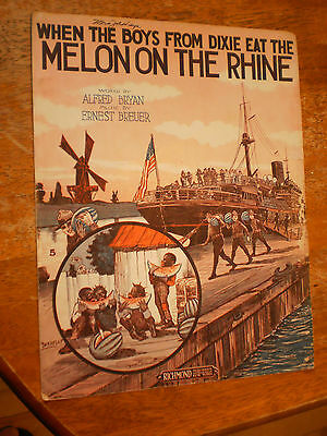 1918 Black Americana Sheet Music WHEN THE BOYS FROM DIXIE EAT MELON ON THE RINE