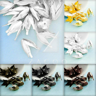 30-40pcs Iron Flower Bead Caps 13x11mm DIY Crafts Jewelry Findings 6 Colors