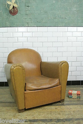 Vintage French Brown Faux Leather Armchair Club Chair Art Deco Style