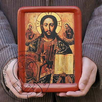 CHRIST PANTOCRATOR Authentic Ancient Russian Icon Original Byzantine Jesus Art