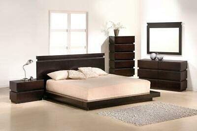 J&M Knotch Modern Brown Lacquer Finish Queen Size Bedroom Set 5Pcs Italy