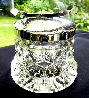 """RARE FOSTORIA AMERICAN CRYSTAL 3½""""  SUGAR CUBE CONTAINER WITH TONGS -  EPNS lid"""