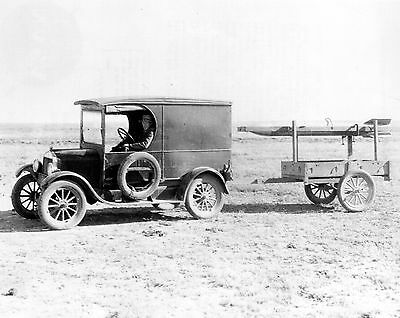 1930 Dr. Robert H. Goddard towed his rocket to launching tower behind  Model A
