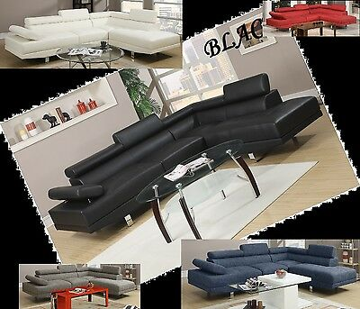 Modern Contemporary Black White Leather Sectional sofa Living room furniture set