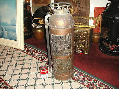 Antique The Columbia Fire Extinguisher-Copper Brass-EMPTY-LQQK-Fire Department