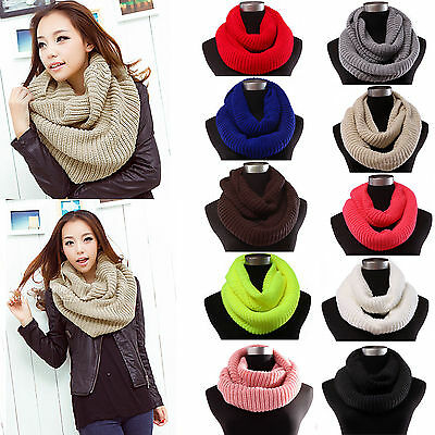 Winter Warm Infinity Two Circle Cable Knit Cowl Neck Long Scarf Shawl Men Women