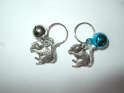 Anti-Theft Purse Bell Charm Squirrel - Security - Handmade Choose Blue or Silver
