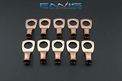 8 Gauge Copper 3/8 Ring 10 Pk Crimp Terminal Connector Awg Ga Car Eye Cur838