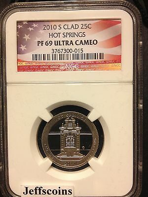 2010 S NGC PF69 Clad HOT SPRINGS NATIONAL STATE PARK QUARTER PROOF COIN ATB 25¢