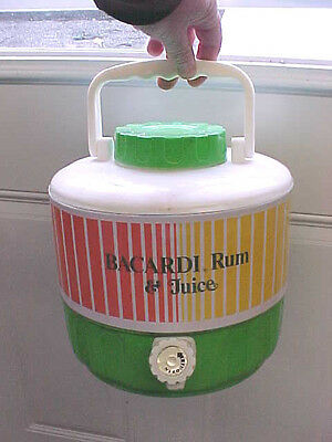 BS6 1984 RARE Bacardi Rum and Juice empty 2 gallon water jug cooler with stand