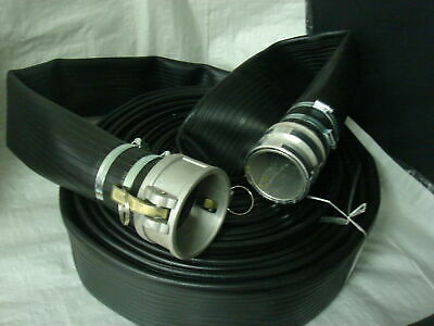 "Heavy Duty 3""x 20M Black Layflat Hose with 3"" Type C & E Camlock ends"