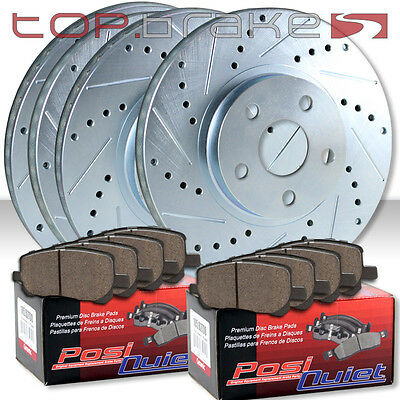 TOPBRAKES Drill Slot Brake Rotors POSI QUIET SM Pads TBP16273 F/&R