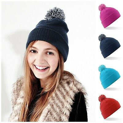 Childrens Bobble Hat Beanie Hat Smart Warm Winter Kids Childs Boys Girls Slouch