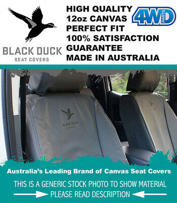 Black Duck Canvas Seat Covers Landcruiser 79 Series Dual Cab Ute Set 3/2007 On
