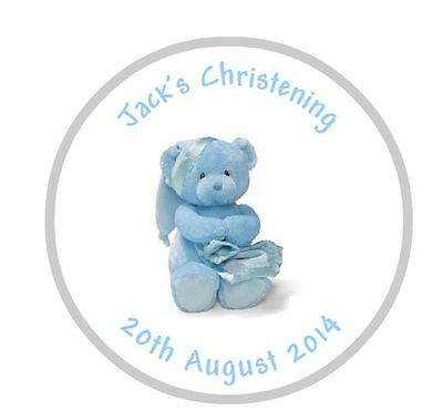 Personalised Baby Boy Bear Christening Party Goody Bag Sweet Cone Stickers