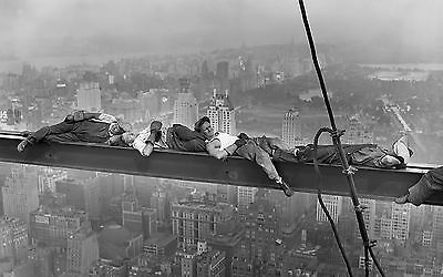 Sleeping On Skyscraper Beam Girder New York City Old Retro Print Premium Poster