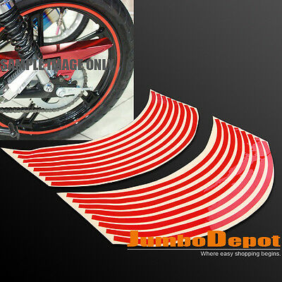 """Red Reflective Rim Tape Wheel Stripe Decal Motorcycle Scooter 16""""-18'' For Honda"""