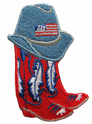 """#4349 3-1/8"""" Embroidery Iron On Blue Jean Hat and Red Boots Applique Patch"""