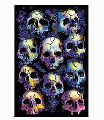 Wall Of Skulls - Blacklight Poster - 23X35 Flocked Gothic A-17Lo