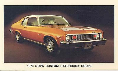 1973 Chevrolet Nova Custom Hatchback Coupe ORIGINAL Factory Postcard my0551