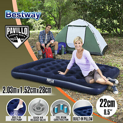 Bestway Comfort Quest Flocked Air Bed Inflatable Queen Size Mattress Camping