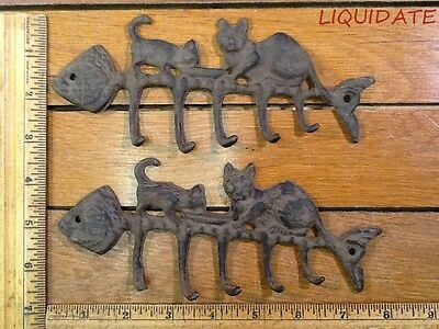 lot of 2 CAT FISH BONE KEY Wall HOOKS rustic cast iron new antique vintage style