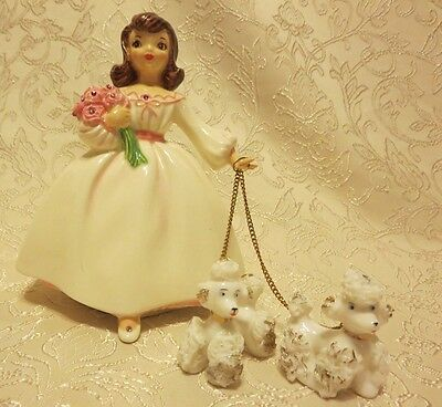 """VINTAGE HOLLAND MOLD """"THE DEBUTANTE"""" CINDERELLA WITH HER SPAGHETTI POODLES"""