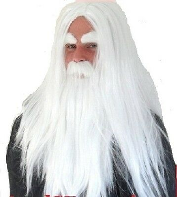 White Wizard Fancy Dress Wig,  Beard Moustache