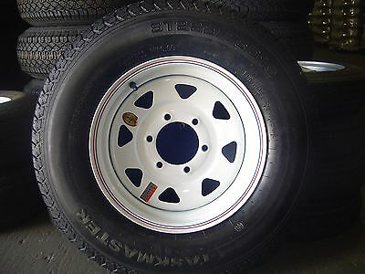 225/75D15, 6 LUG,  6 BOLT TRAILER TIRE AND WHEEL 15 INCH 8PLY TIRE 225/75D15""