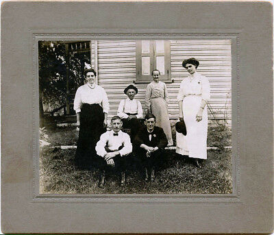 Family - Three Men With Three Women Posing By House & Original Antique Photo