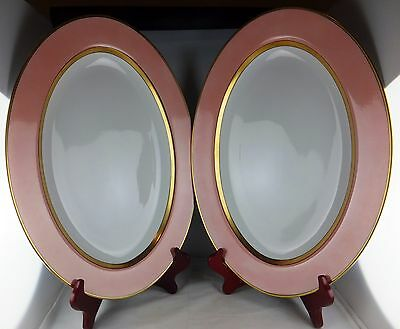 """Two Fitz and Floyd China Renaissance - Peach 14"""" Oval Platters - Excellent"""