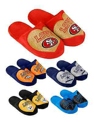 NFL Football Team Logo Warm Winter LOVE Glitter Slide Slippers - Pick Your Team!