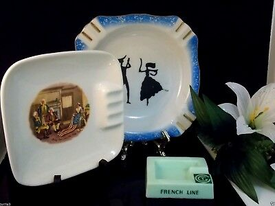 Vintage Lot of Three Fine Ceramic/Porcelain ,Glass Ashtray Very Unique Lot