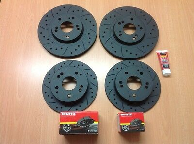 Mazda RX8 323mm Front Rear Drilled Grooved Black EditioBrake Discs & Mintex Pads
