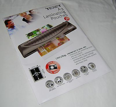 New 25 A3 Laminating Pouches For Posters Digital Prints Photos Etc Large  Texet