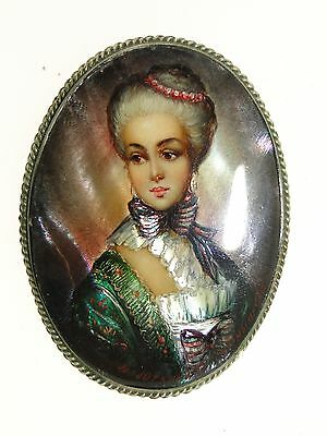 Gorgeous Signed Sterling Silver Hand Painted Portrait Brooch - Amazing Detail!
