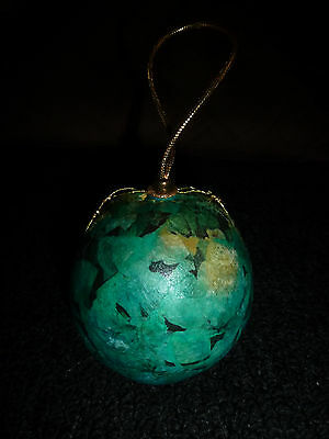 Vintage Paper Mache Gourd Shaker~Decoupage Christmas Tree Ball Ornament
