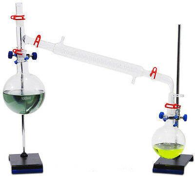 Complete Vacuum Distillation Glassware Set - w/stands, clamps. Fast shipping!