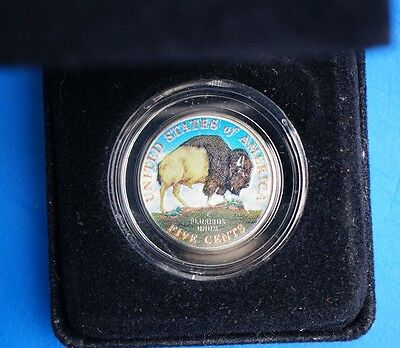 US 2005 - 5 Cents Jefferson Nickel Westward Journey  Bison Colorized Coin Cased